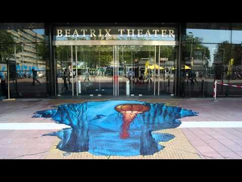 The Little Mermaid - 3D straattekening Beatrix Theater Utrecht