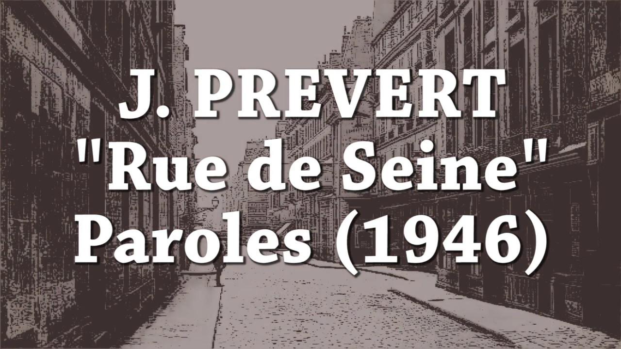 Jacques Prevert Rue De Seine Paroles 1946
