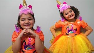 Öykü and Masal pretend play Unicorn Dress Up & Kids Make Up Toys