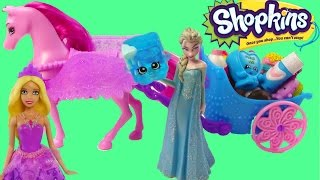 Disney Frozen Queen Elsa Barbie Princess Shopkins 12 Pack Unboxing Pegasus Set Opening