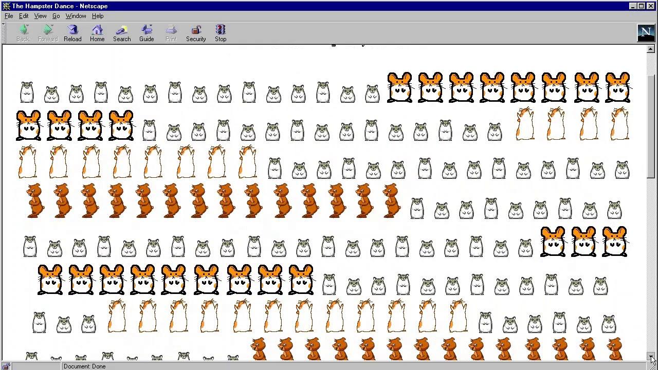 The Hampster Dance Website In 1999 In Netscape Navigator 4 04