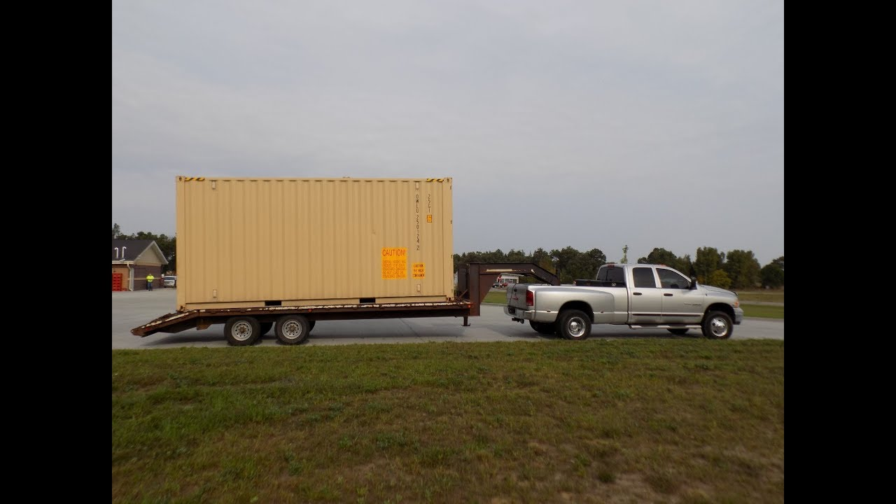 hauling a shipping container