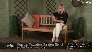 BillyOh Windsor Pop Up Wooden Garden Bench
