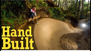 Backyard trail building - Hand built berm!