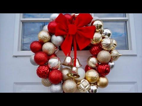Decoraciones De Navidad | Como Hacer Corona De Esferas | Coronas Navideñas Para La Puerta