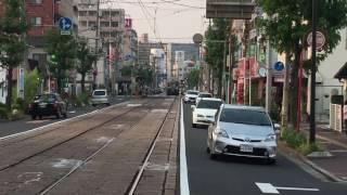 路面電車の折り返し(広電・宇品二丁目)