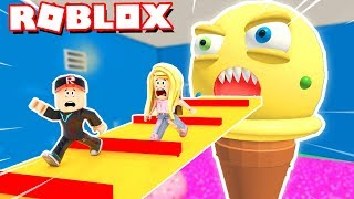 ICE CREATURE WANTS TO DEVOUR US! 😨 (Escape The Ice Cream Shop Obby Roblox) | BELLA AND VITO