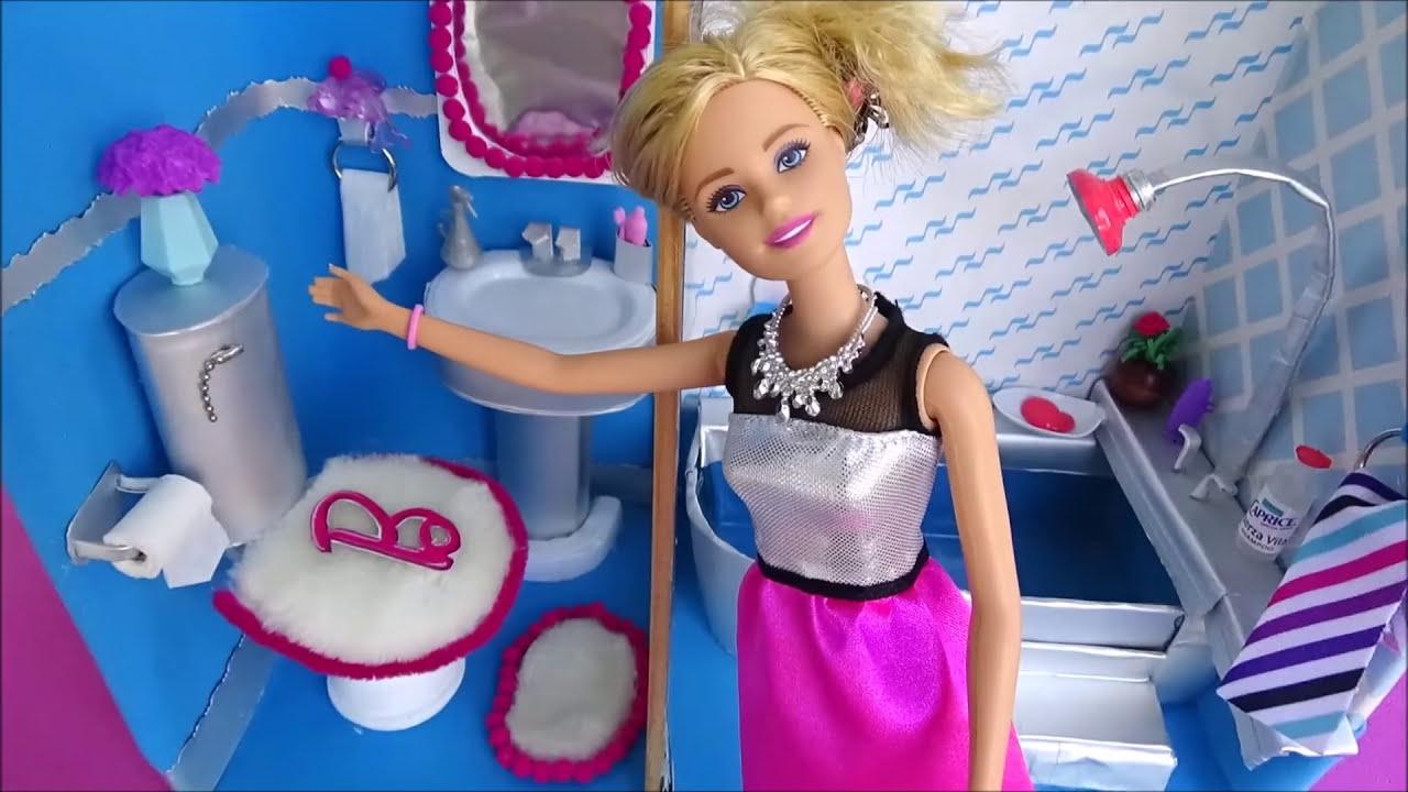 Como hacer ba o para mu ecas barbie diy papel higi nico - Como limpiar la porcelana del bano ...