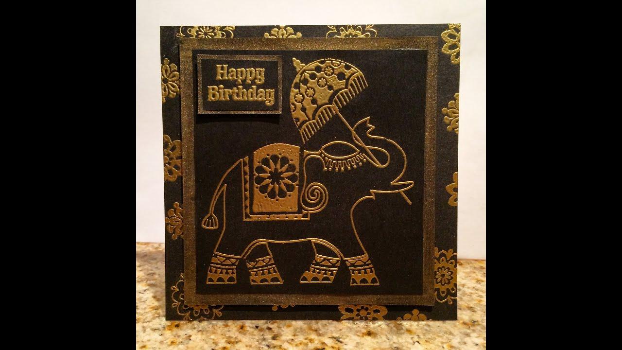 Gold Embossed Elephant Birthday Card