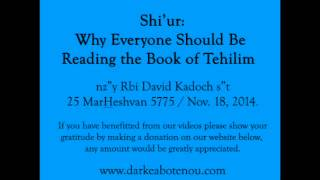 Shiur - Why everyone should be reading the Book of Tehilim - R. David Kadoch