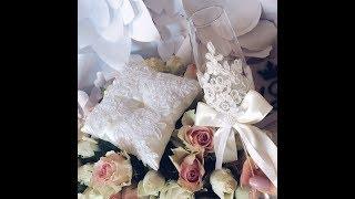 Нежные свадебные бокалы с кружевом*