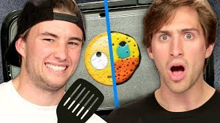 Brother vs Brother Emoji Pancake Art Challenge w/ the Funk Bros | Griddle Me This