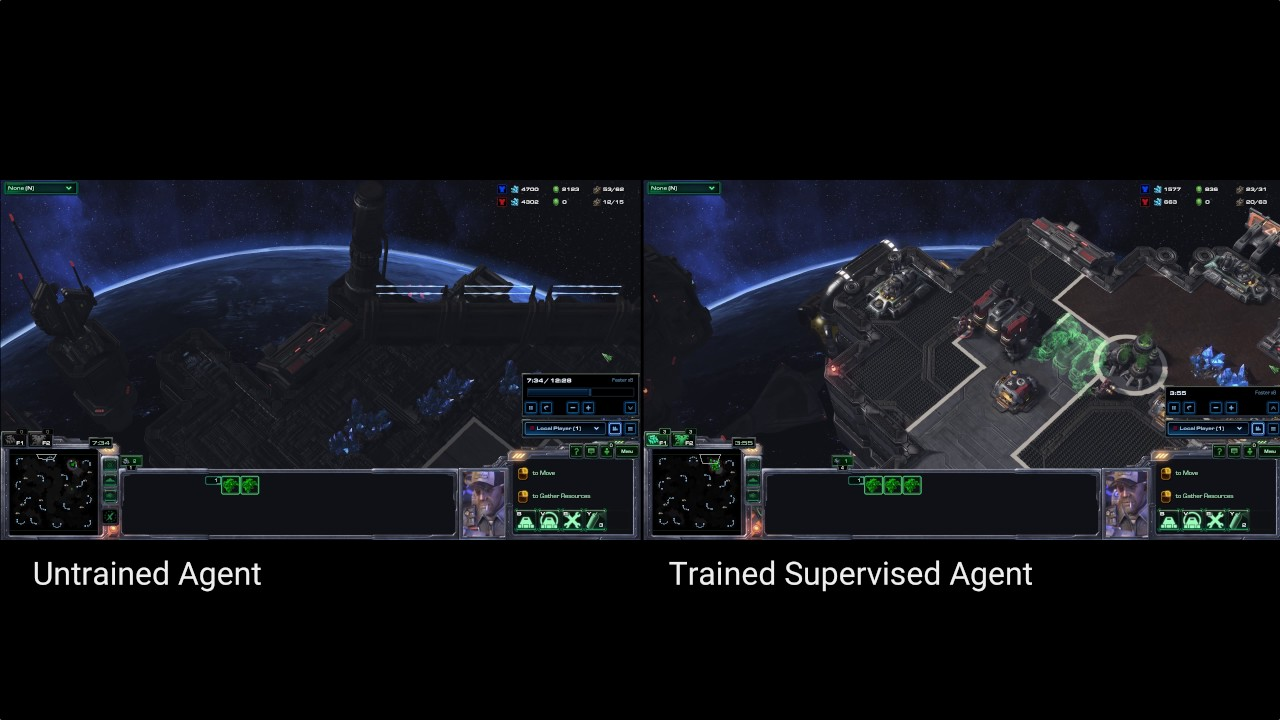 Trained and untrained agents play StarCraft II full 1vs1 game