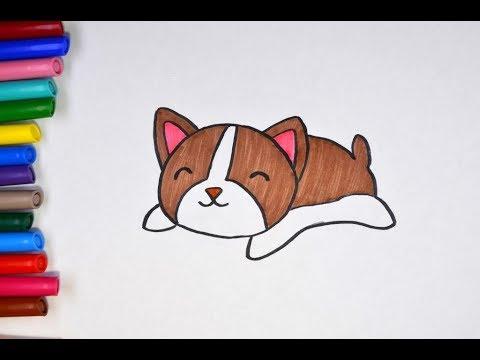 Учимся рисовать щенка. Рисунок милый каваи щенок. #drawings
