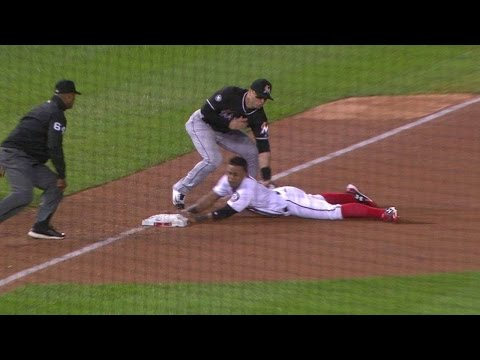 MIA@WSH: Ozuna Throws Out Difo At Third, Call Stands