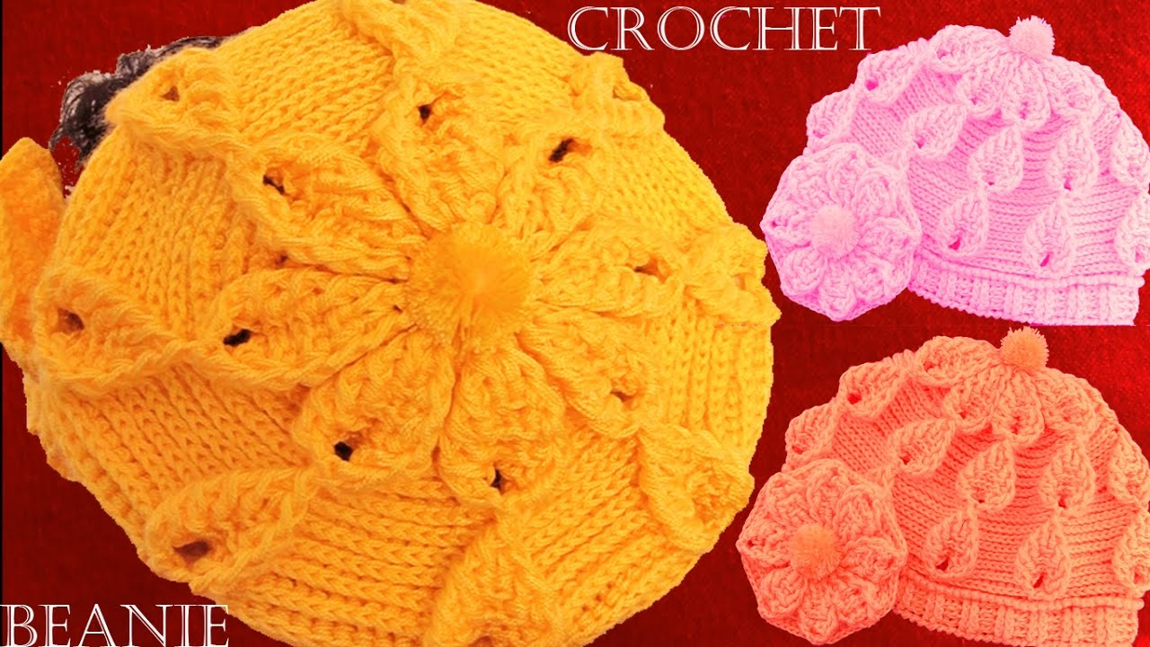 Como tejer a crochet o ganchillo gorro boina en punto de hojas y flores en  alto relieve - YouTube 05ac51f873f