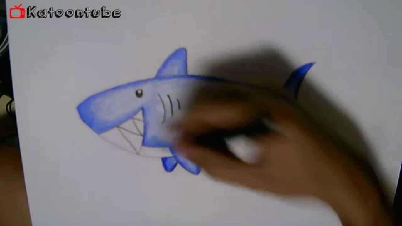 สอนวาดรูปการ์ตูน ปลาฉลาม How To Draw Coloring Shark