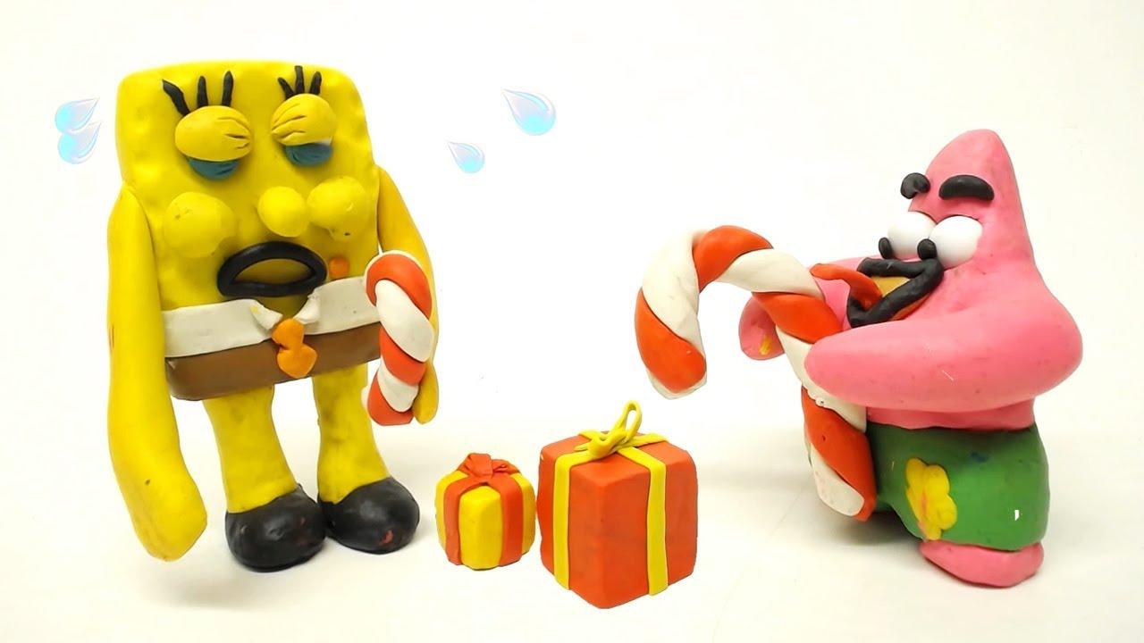 SpongeBob and Patrick Star Christmas Gift 🎁 Superhero Play Doh Stop ...