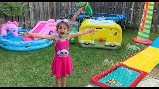 4 Year Old Sally Turned Her Backyard Into A Real Waterpark For 24 Hours!
