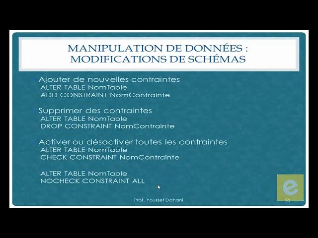 SQL 18: Manipulation de Données: Modifications De Schémas 2