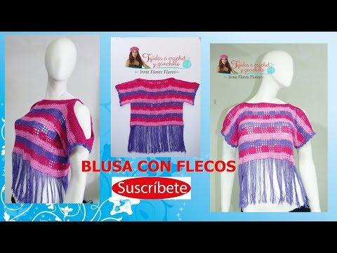 ce9964fa3 BLUSA CALADA Y CON FLECOS PARA DAMA TEJIDO A CROCHET - YouTube