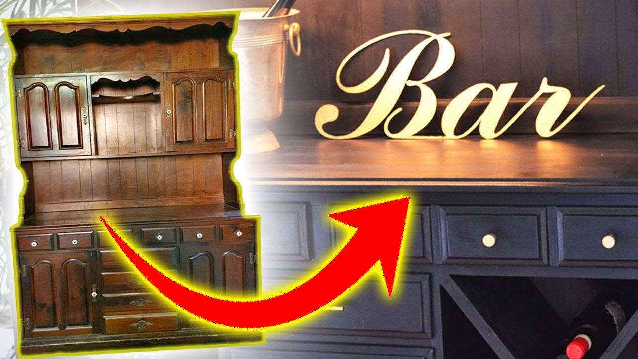 I Turned A 100 Year Old Hutch Into A Bar Furniture Thrift Transformation Ep5 Youtube