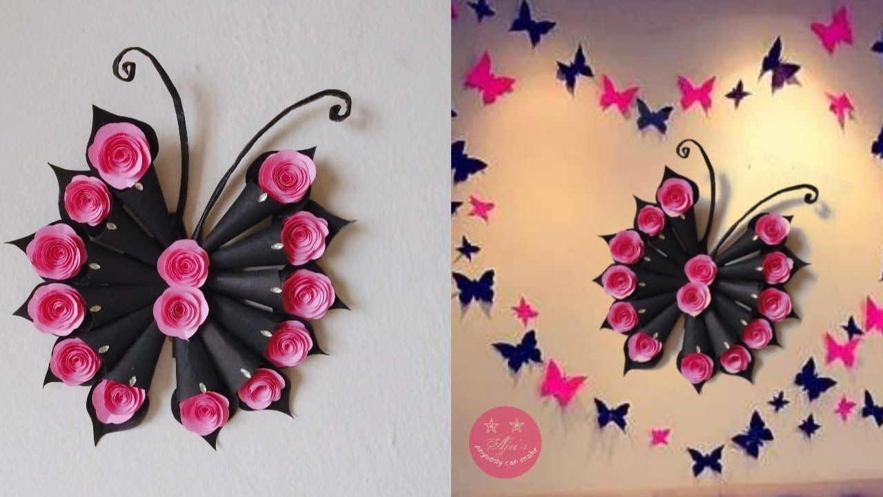 EASY DIY BUTTERFLY And ROSE WALL DECOR | WONDERFUL TEEN/KIDS BEDROOM WALL DECOR - YouTube