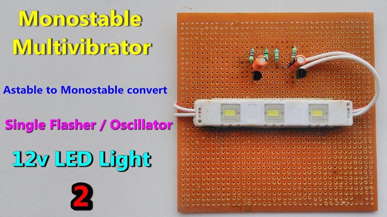 12v Led Monostable Multivibrator Oscillator Flashing Astable With 555 Timer Delabs Schematics To Convert Transistor