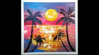 sunset abstract painting / 캔버스…