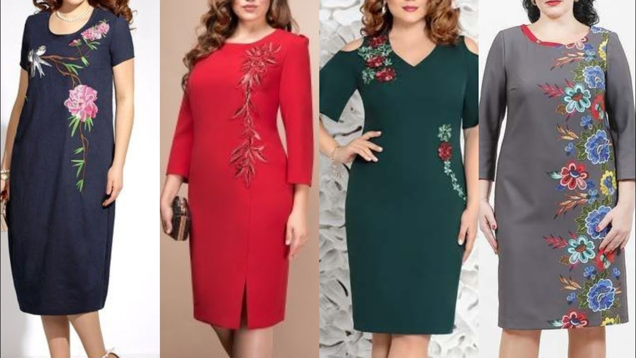 very impressive and attractive embroidery and appliqu work plus size women cotton sheath dresses2020