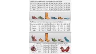 видео Таблица размеров женской обуви