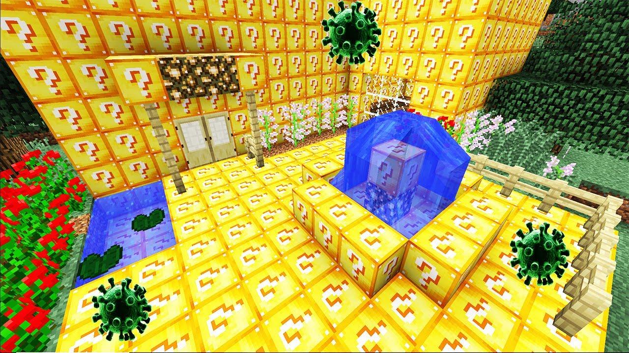 SURVIVRE DANS UNE MAISON EN LUCKY BLOCK! Minecraft Survie (ft. John 11.11,  Asfax)