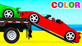 fun sport cars transportation for kids spiderman cartoon w colors for children nursery rhymes