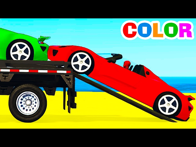 COLOR SPORT CARS Transportation for Kids & Cartoon w Colors for Children Nursery Rhymes