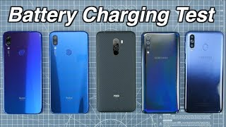 Redmi Note 7 Pro (QC 3.0)Vs Redmi Note 7 Vs Samsung A50 Vs Samsung M30 Vs Poco F1 | CHARGING TEST