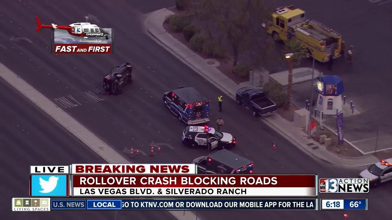 Rollover crash blocking road at Silverado Ranch, Las Vegas Boulevard