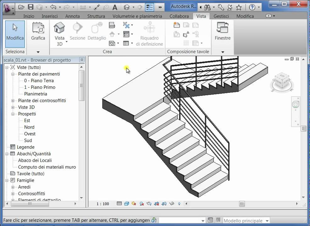 Videolezioni di revit 2011 modellazione di una scala 1 for Disegnare una scala a chiocciola con autocad
