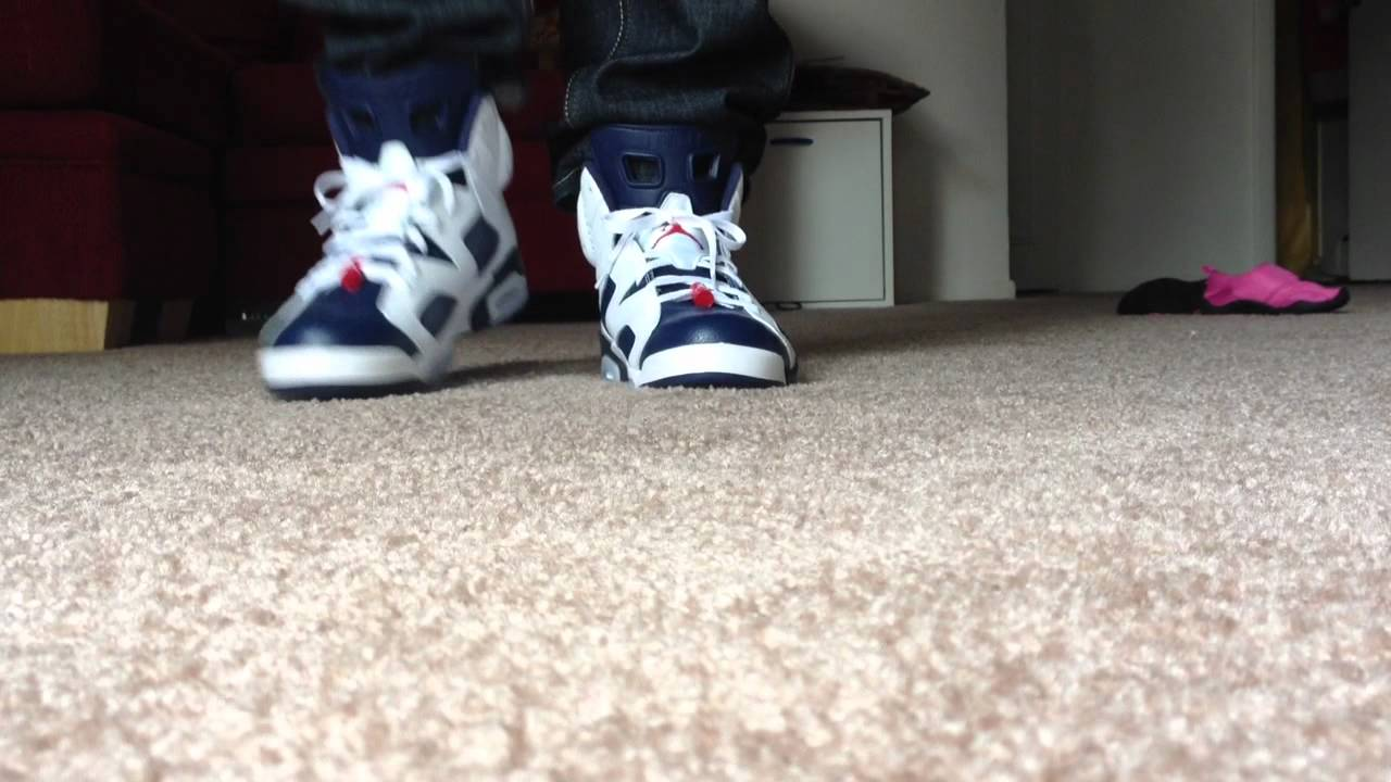 outlet store 802da 6208f Air Jordan Retro 6 Olympic On Feet With Jeans Review - YouTube