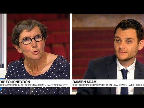 Damien Adam et Valérie Fourneyron  sur le plateau de France 3 Normandie