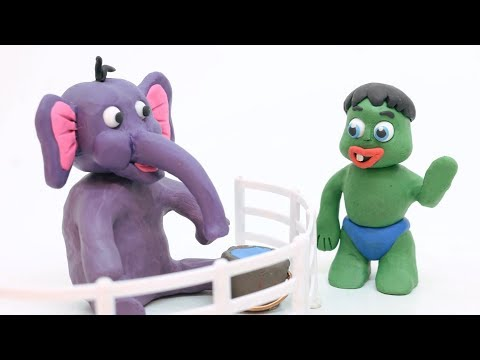Baby Hulk ZOO Time Elsa Frozen Stop Motion Toddlers Play Doh Animations