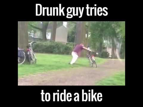 Drunk Man On A Bicycle Funny Youtube