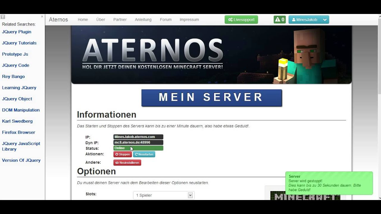 Kostenloser 24/7 Server in MInecraft bei Aternos.de - YouTube
