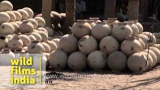 Clay Pots Kept For Drying Under Sun: Rajasthan