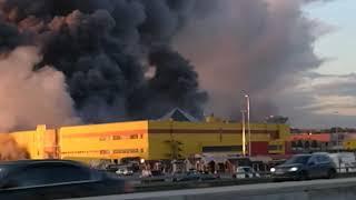 Пожар в Москве. Горит ТЦ Синдика 08.10.2017 17:30