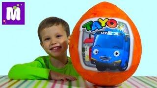 Тайо автобус большое яйцо сюрприз распаковка игрушки машинки Tayo giant surprise egg with toys