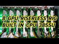 OCTOMINER 8 GPU Riserless Mining Rig With Built in Intel Mobile 3855u CPU