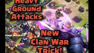 Clash Heavy Ground Attack | New Clan War trick! | Clash Of Clans GoWiPe strategy
