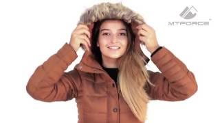 Куртка зимняя женская коричневого и серого цвета F05