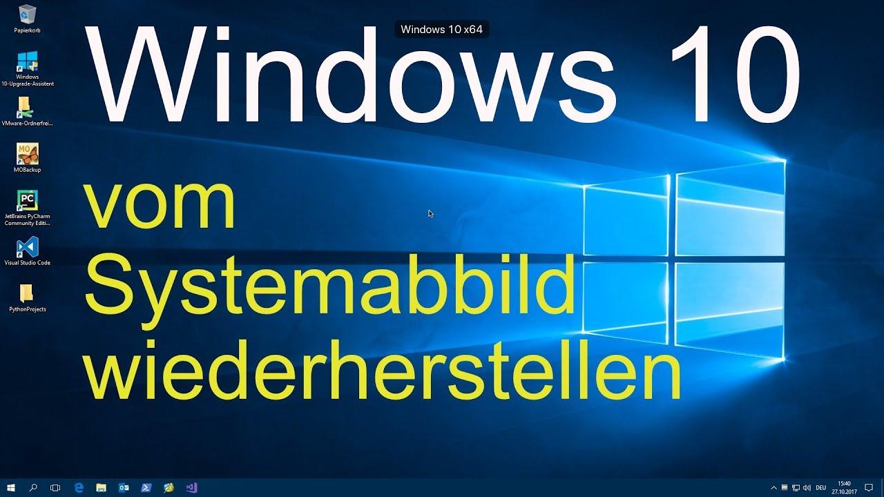Windows 10 Vom Systemabbild Wiederherstellen Youtube