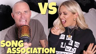 Who can sing better?! Song association challenge with dad!